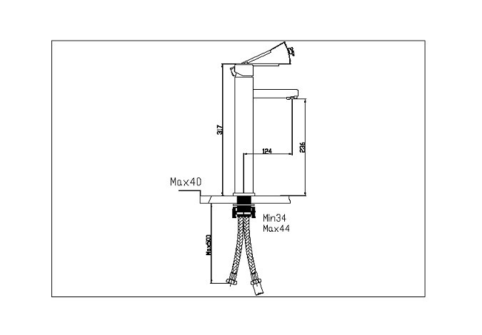 drawing for square type tall basin mixer