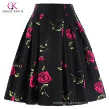 Grace Karin Occident Vintage Retro 50s Floral Pattern Cotton Skirt CL008925-10