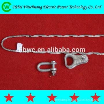 Aluminium de haute qualité revêtu de fil d'acier ou galvanisé fil d'acier guy grip impasse main droite direction pour câble ADSS