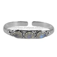 Latest Design Rainbow Moonstone Gemstone 925 Sterling Silver Bangle Jewelry