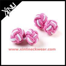 Botões de punho feitos sob encomenda importados elásticos cor-de-rosa & brancos do nó de seda