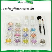 Getbetterlife temporaty venta por mayor cara pintura glitter tatuaje kit de tatuaje, 15 colores cuerpo arte brillo del tatuaje conjunto