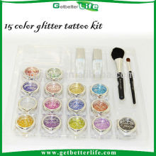 Getbetterlife gros temporaty tatouage visage peinture paillettes kit de tatouage, 15 couleurs Body Art Glitter Tattoo ensemble