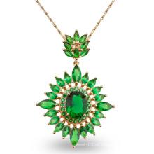Collar de piedra verde de lujo de la joyería de la manera del diseño para el regalo