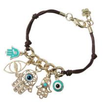 Eye maléfique et main de Fatima sur le bracelet de fil de cuir (XBL13491)