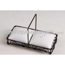 Square shape ceramic salt&pepper with rack JX-SP515
