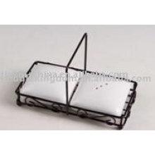 Forma quadrada de sal e pimenta em cerâmica com suporte JX-SP515