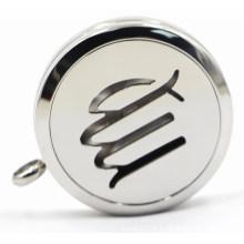 Silver 30mm Rd Aço Inoxidável Perfume Locket com Openworks