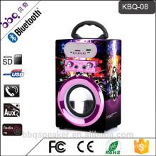 KBQ-08 4 inch 1200mAh battery mini small karaoke speaker system with mic input echo USB/TF/FM
