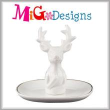 Sostenedor de anillo de cerámica exquisito vendedor caliente con diseño de los ciervos