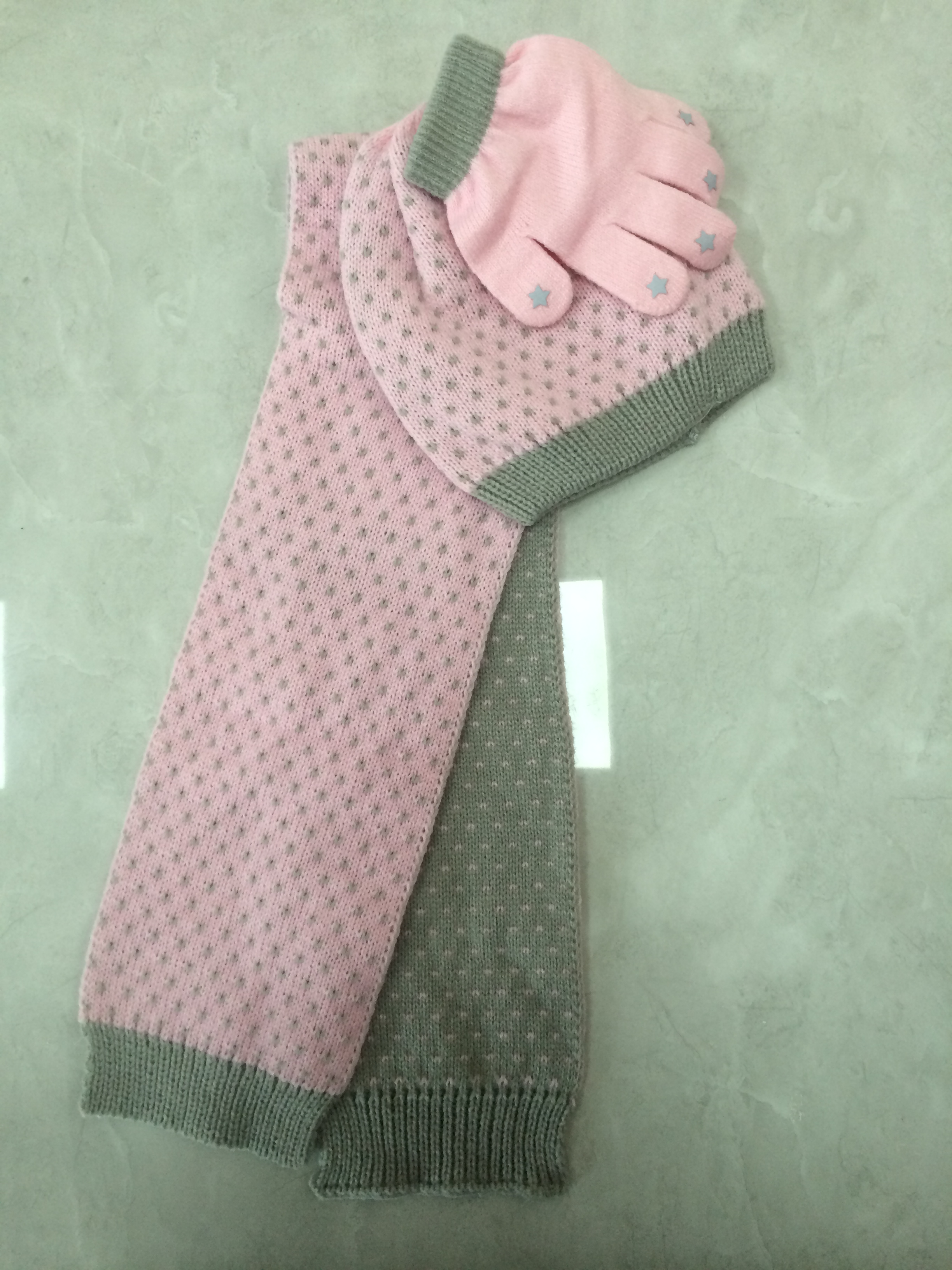 Jacquard Knitting Winter Hat Gloves Scarf