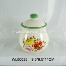 Großhandel populärer Entwurf keramischer Nahrungsmittelaufbewahrungsbehälter mit Abziehbild