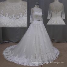 Кружевные свадебные платья реальные фото коричневый Брейдинг Тюль Свадебные платья