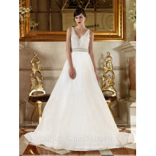ZM16026 Plus Size Wedding Dress Patterns V-neck Deep Low Back Wedding Dress Ball Gown Sleeveless Beaded Sash Taffeta Gown