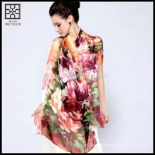 High Quality Silk Digital Floral Printed Scarf