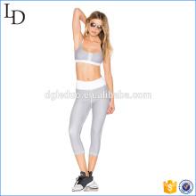 Traje de deporte al por mayor de moda de las rayas desgaste 2 piezas de yoga transpirable