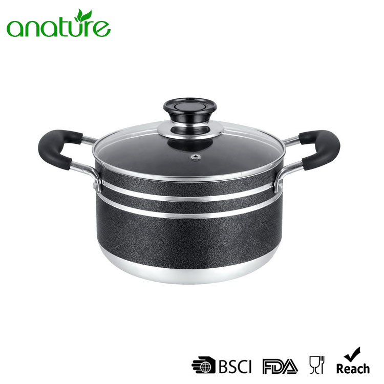 Aluminum Pressed Black Powder Coated Sauce Pot