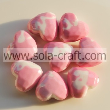 10*18*20MM Painted Colorful Fashion Heart Charm Beads Pattern