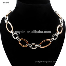 2 Different Color Plating Stainless Steel Simple Fashion Fake Gold Chain Necklace