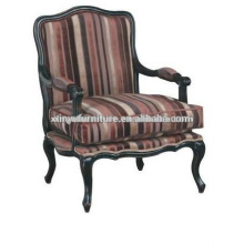 French style strip fabric wood carved chaise XF1013
