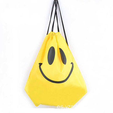 Custom Smile Printing Waterproof Oxford Outdoor Travel Sports Drawstring Storage Bag