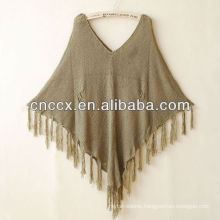 13STC5540 women tassel-trimmed pullover fashion hand knitted poncho