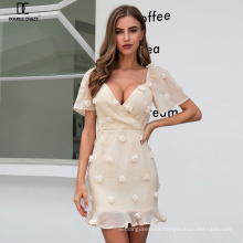 Weixin Shein Fashion Womens Clothing Sexy V Neck Puff Sleeve Jacquard Ruffle Mini Wrap Ladies Summer Casual Party Dresses
