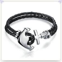 Joyas de acero inoxidable joyas de cuero pulsera de cuero (lb058)