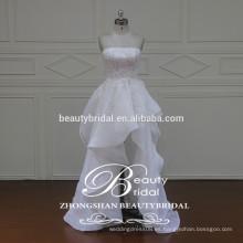 Glamour de alta calidad coreana de estilo falda real de la colmena sin tirantes vestido de novia corto