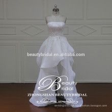 glamour high quality korean style real sample ruffle strapless short wedding dress