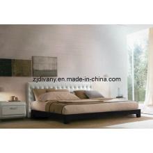 Maison moderne européenne lit cuir bois lit Double (A-B16)