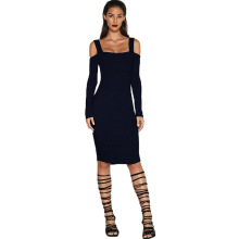 Black Hot Sexy Backless Spaghetti Strap Bodycon Slim Dress 2016