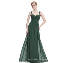Starzz Sweetheart sin mangas de color verde oscuro gasa largo vestido de noche ST000065-4