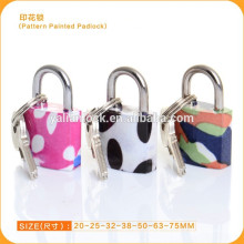 China suppliers wholesale Pattern Painted Padlock Mini color padlock with 3er pack