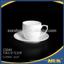 2015 nuevos productos de cerámica hotel blanco hueso taza de café de china