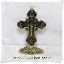 Christian Figurine Alloy Cross Religious Jesus Standing Crucifix (IO-ca097)