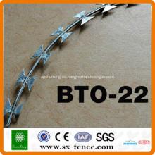 ISO9001 Anping shunxing alambre de púas de fábrica razor Bto-22 galvanizado alambre de púas