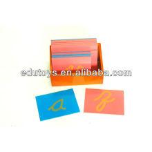 Toys Baby Montessori - Lettres de papier de verre, Cursive minuscule, avec boîte