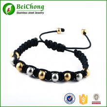 Round Steel And Gold Stainless Steel Beads Braiding Adjustable Bracelet Bangles