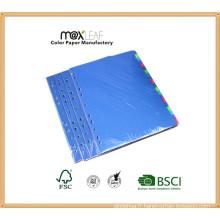 Diviseur de fichier d'index de papier multi couleurs de 160GSM A4