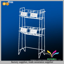 High quality modern white newspaper stand 2 tiers metal wire magazine display rack