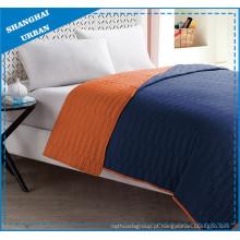 Conjunto de roupa de cama de colcha de poliéster laranja índigo colorblock