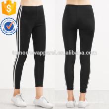 Black Contrast Striped Side Leggings OEM/ODM Manufacture Wholesale Fashion Women Apparel (TA7029L)