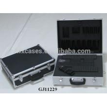 caixa de ferramentas de alumínio canto quadrado com espuma removível de cubos dentro e painel ABS preto pele