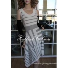 Senhoras ′ Lã Viscose Sleeveless Intarsia Saia com Listras