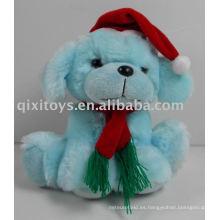 perro de Navidad con sombrero y bufanda