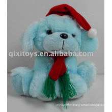 stuffed christmas dog with hat and scarf