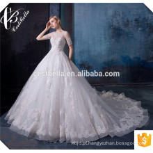 2016 Chique de alta qualidade elegante Veja através de volta vestido de casamento branco puro vestidos de noiva de renda