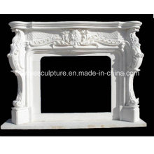Hand Carved Pure White Marble Fireplace (SY-MF202)
