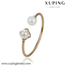 51770 Xuping 18k gold bangle designs,elegant two pearl cuff bangle for women